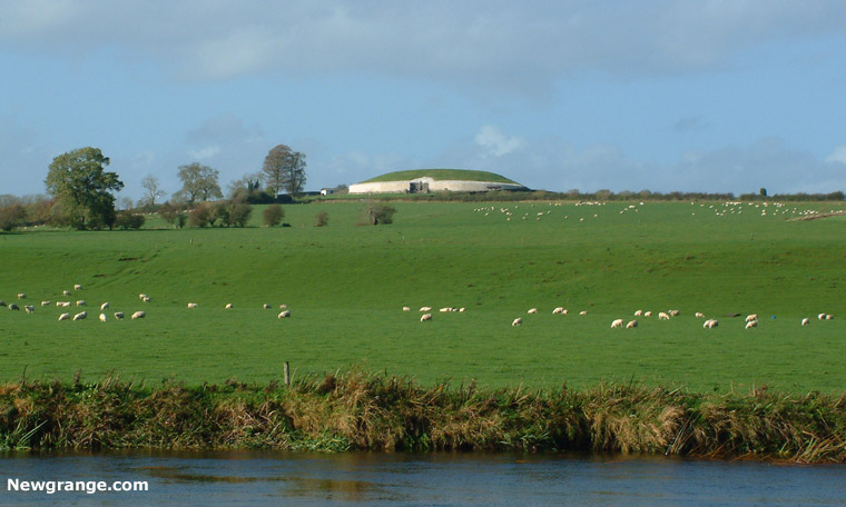 Newgrange viewed from the river Boyne